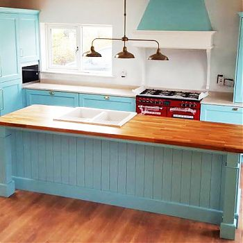 Kitchen Cork Feature - Solid Ash - Blue Painted