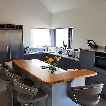Contemporary kitchen - Quartz worktop - Double sink