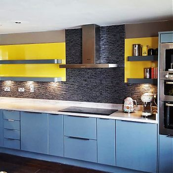 Kitchen Feature - Gold Wall Panels