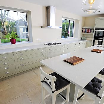 Ash painted fitted kitchen Cork - Silestone worktop